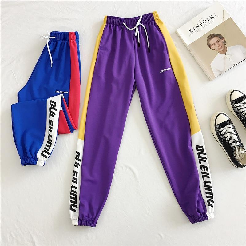 Loose Sports Pants Women Autumn  Students Harajuku BF casual Joggers Women Trousers  High Waist Chain Hip-hop Pants