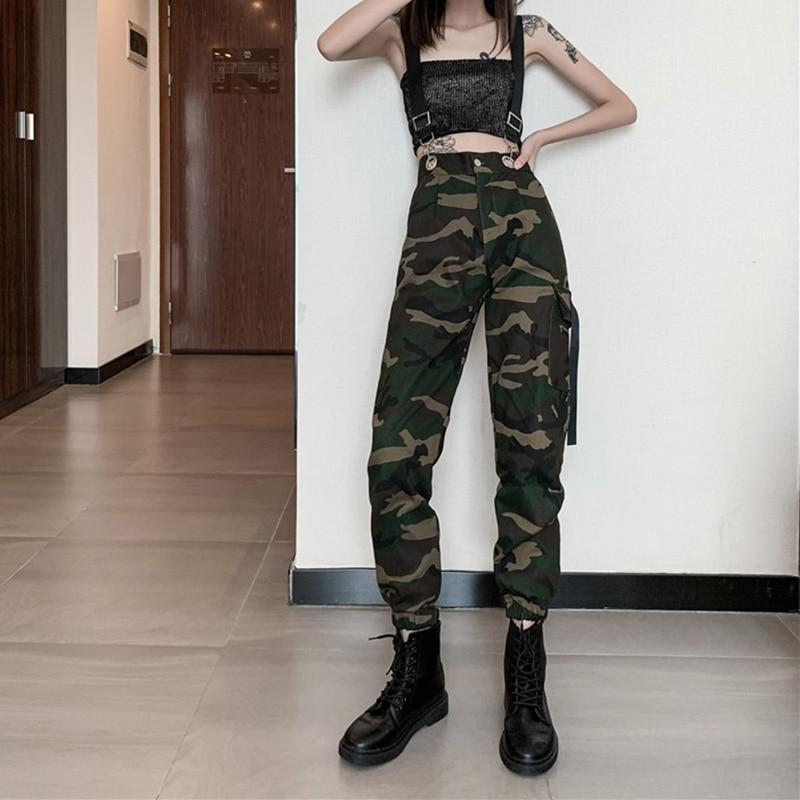 Women Suspenders Military Camouflage Pants Ladies Army High Waist Sweatpants Loose Camo Pants Trousers Hip Pop Street Joggers