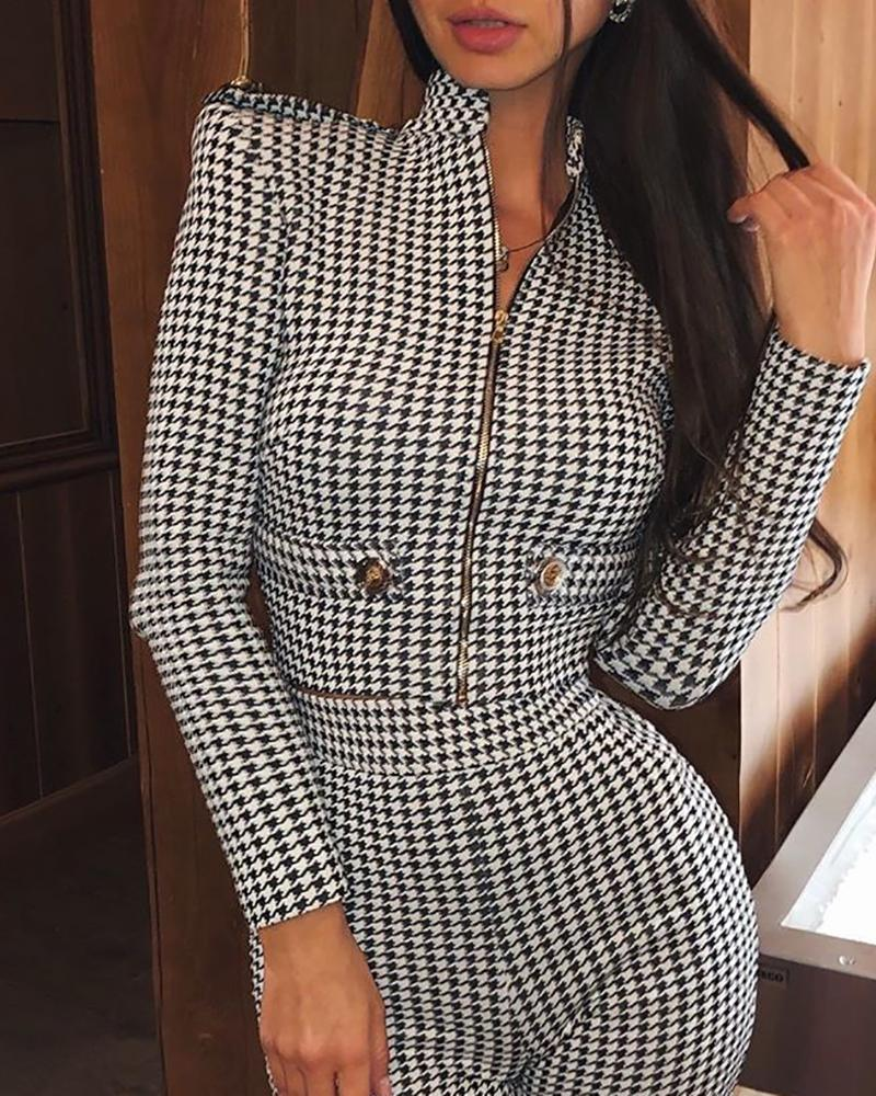 The Best Houndstooth Padded Shoulder Zipper Coat & Shorts Sets Two Piece Set Woemn Long Sleeve Zip Coat Skinny Pants Tracksuit Online - Hplify