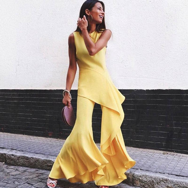 The Best Irregular sleevelss summer jumpsuit Women long flare pants Yellow rompers womens jumpsuit Elegant workwear combinaison femme Online - Hplify