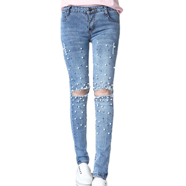The Best Knee Hole Ripped Jeans Women Stretch Denim Pencil Pants Casual Slim Fit Rivet Pearl Jeans Summer Long Trousers Low Waist Cowboy Online - Hplify