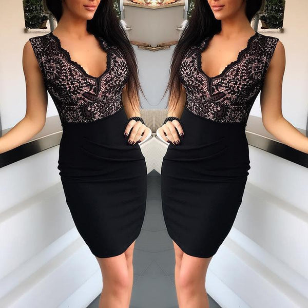 The Best Lace Splicing Black Sheath Dress Women Sleeveless black bodycon dress summer night club party dresses vestidos mujer Online - Hplify