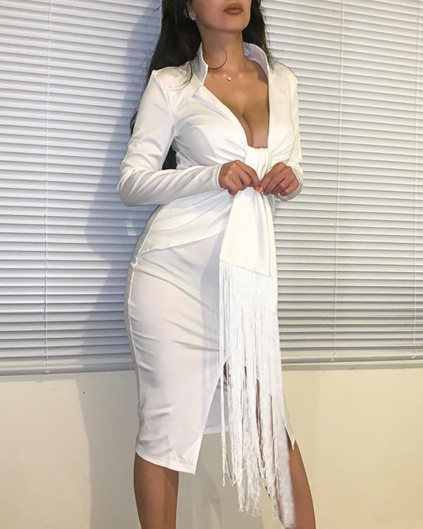 The Best Plunging Tassel Twisted Design Dress Women Solid White Long Sleeve Dress Winter V Neck Bodycon Party Dresses Online - Hplify
