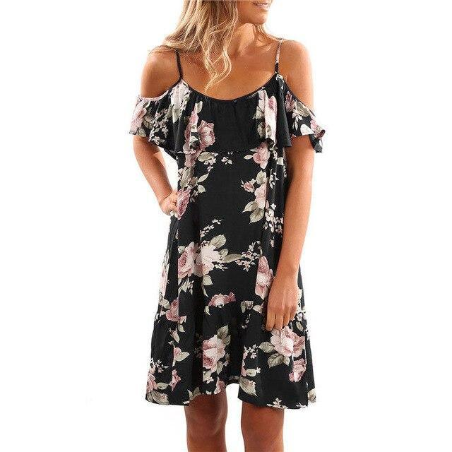 The Best Plus Size Fashion Summer Off The Shoulder Floral Printed Chiffon Loose Ruffled Women Mini Dress Sexy Dress Women Party Dress Online - Hplify