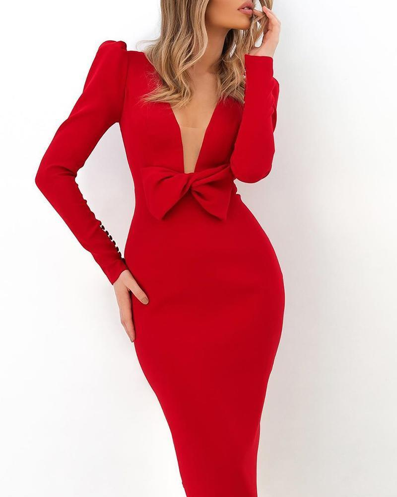 The Best Puff Sleeve V Neck Bodycon Midi Dress Women Solid Red Front Bow Designed Long Sleeve Dress Elegant Office Ladies Vestidos Mujer Online - Hplify