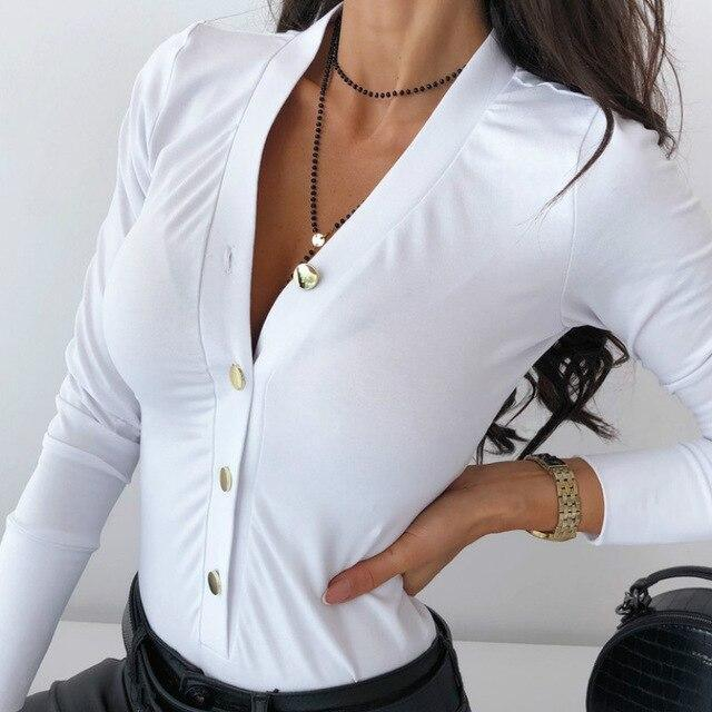 The Best Sexy Bodysuit Women Overalls Sexy Long Sleeve White Button Low Cut Skinny Women Bodysuits Online - Hplify