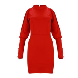 The Best Sexy Dress Party Night Sexy Solid Color Red Off Shoulder Turtleneck Long Sleeve Button Hoolow Out Women Bodycon Dress Online - Hplify