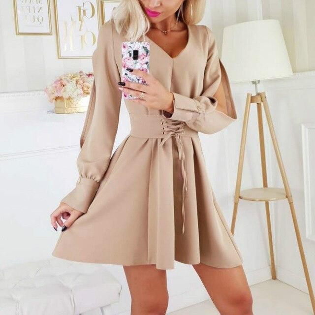 Sexy Dress Women Party Night Fashion Sexy Low Cut Solid Color Off Shoulder Hollow Out Bandage Long Sleeve Women Mini Dress