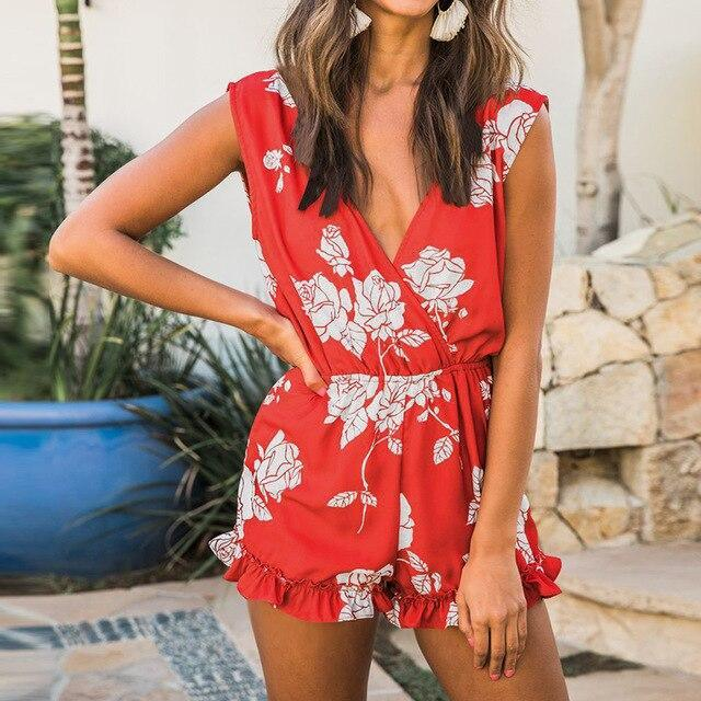 The Best Sexy Floral Print Off Shoulder Lwo Cut Sleeveless  Rompers Womens Short Jumpsuit Summer Overalls Sexy Playsuit Online - Hplify
