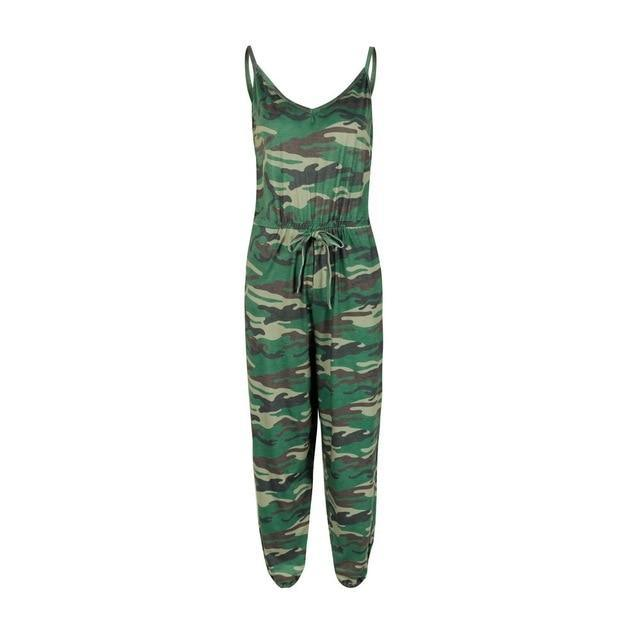 The Best Sexy Green Camouflage Print Rompers Womens Jumpsuit Tunic Playsuit Summer Spaghetti Strap Sleeveless One Piece Outfit Streetwear Online - Hplify