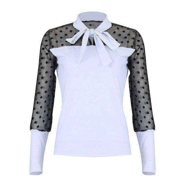 Sexy Long Sleeve Tops and Shirt Fall Clothing Sexy Meshpolka Dot See Through Bow Bandage Long Sleeve Women Blouse