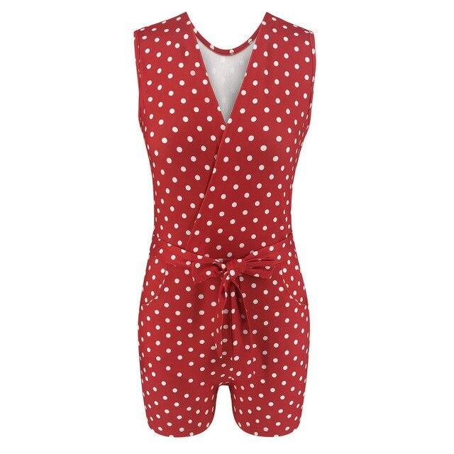The Best Sexy Low Cut Red Polka Dot Sleeveless Tunic Lace Up Rompers Womens  Summer Clothes Overalls Playsuit Casual Streetwear Online - Hplify