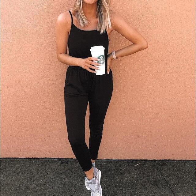 The Best Sexy Off Shoulder Elastic Waist Rompers Women Jumpsuit Black Gray Summer Sleeveless One Piece Outfit Streetwear Online - Hplify