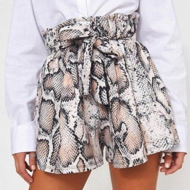 Sexy Snake Skin Print High Waist Lace Up Drawsrting Wide Leg Mini Short Shorts Women Summer Clothes Casual Loose Streetwear