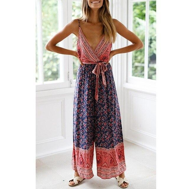 The Best Sexy Spaghetti Strap Red Blue Floral Print Bohemian Rompers Womens Wide Leg Jumpsuit Tunic Bandage Lace Up Overalls Streetwear Online - Hplify