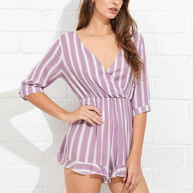 The Best Sexy Summer Striped Print Low Cut Half Sleeve Women Playsuit Casual Women Romper Sexy Women Overalls Online - Hplify