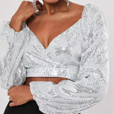 The Best V Neck Sequin Tops Women Lantern Sleeve Navel Exposed Crop Tops Long Sleeve Sequined Party Top Streetwear Blusa Mujer Online - Source Silk