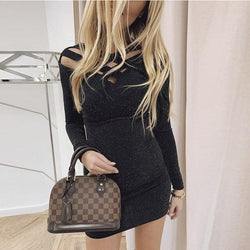 The Best Sexy Women Dress Round Neck Solid Color Hollow Out Skinny Long Sleeve  Sexy Dress Bodycon Dress Women Club Wear Online - Hplify