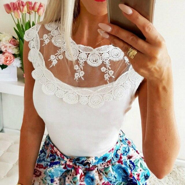Sexy Women Summer Tops Mesh Patchwork See Through O-neck Sleeveless Women Blouse Sexy Tops and Shirt