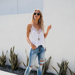 The Best Sleeveless Lace Camis Tank Top V-Neck Party Tops Online - Hplify