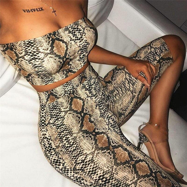 The Best Snake print strapless two piece set women Crop tops and shorts skinny suits Sexy night club outfits Summer woman tracksuits Online - Hplify