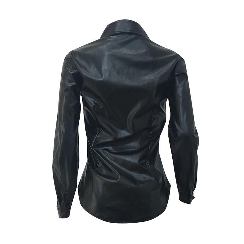 The Best Solid Black Pu Leather Shirt Women Turn Down Collar Long Sleeve T Shirt Streetwear Online - Hplify