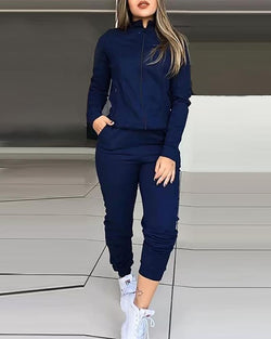 The Best Solid Zipped Top & Slinky Pant Sets Women Solid Two Piece Set Tracksuit Online - Hplify
