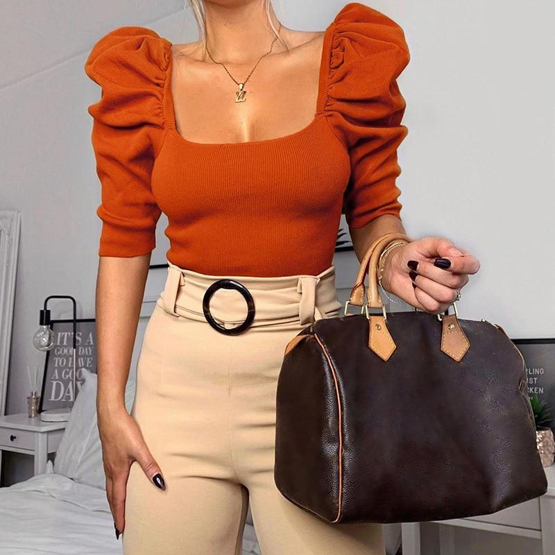 Square Collar Puff Sleeve Tops Women Slim Fit Half Sleeve Ribbed T Shirt Solid White Black Summer Crop Tops Blusa Mujer - Hplify