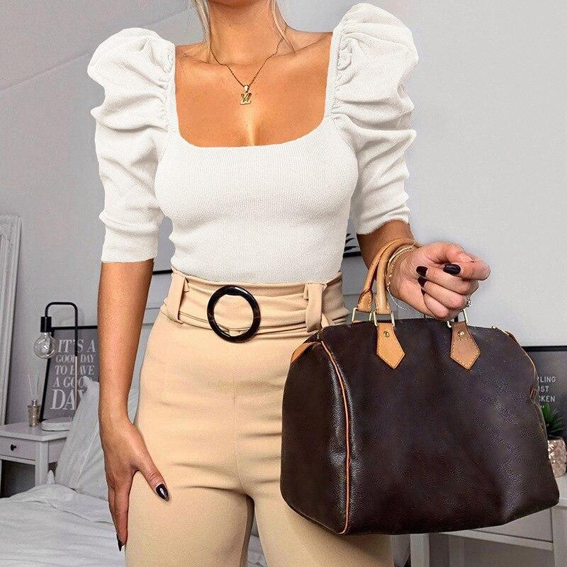 The Best Square Collar Puff Sleeve Tops Women Slim Fit Half Sleeve Ribbed T Shirt Solid White Black Summer Crop Tops Blusa Mujer Online - Hplify