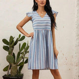 Summer Casual Striped Low Cut Elastic Waist Short Sleeve Women Summer Dress Sexy Women Dress