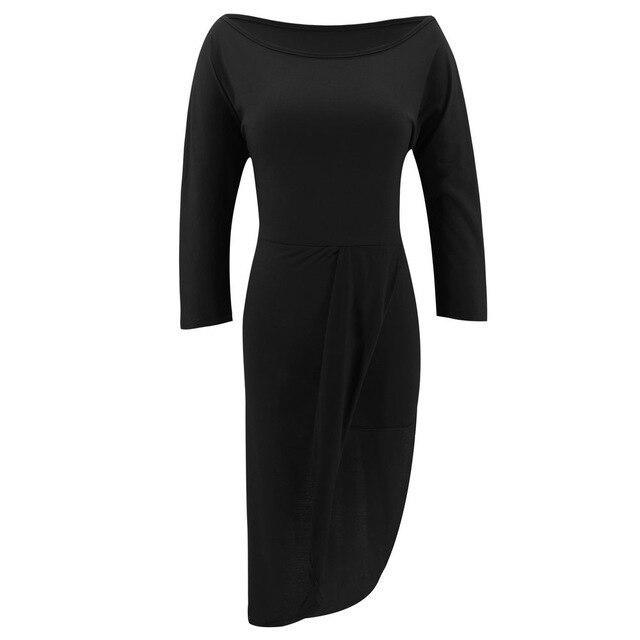 Summer Clothing Women Dress Party Night Sexy Solid Long Sleeve Off Shoulder Women Dress Irregular Bodycon Dress Party Dress