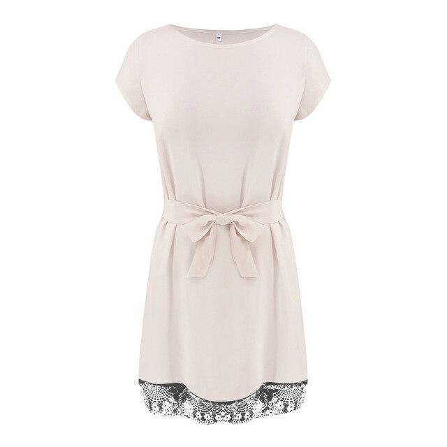 Summer Dress Casual Round Neck Short Sleeve Lace Patchwork Bandage Mini Dress Black Pink White Women Dress