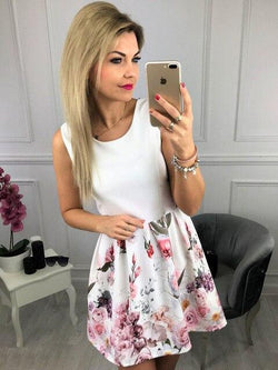 The Best Summer Dress Round Neck Floral Printed Sleeveless Ruffled Mini Dress Women Dress Party Drss Elegant Dress Online - Hplify