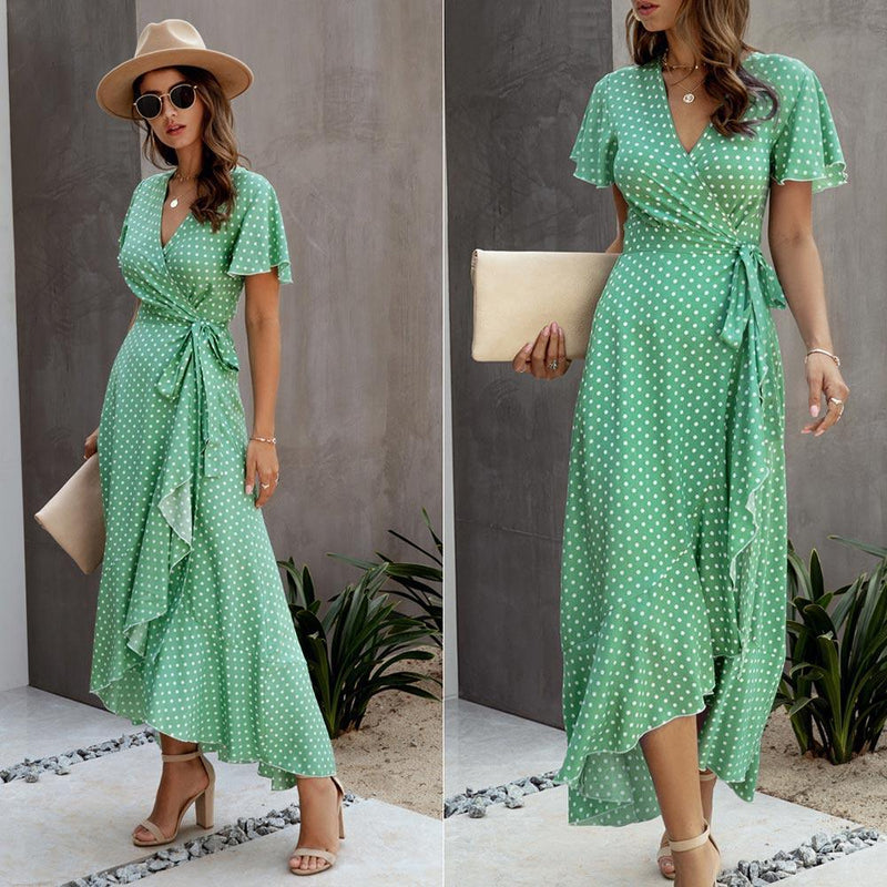 Summer Maxi Dress Women Polka Dot Sexy V Neck Ruffles Short Sleeve Holiday Long Beach Sundress Ladies Lace Up Wrap Party Dresses