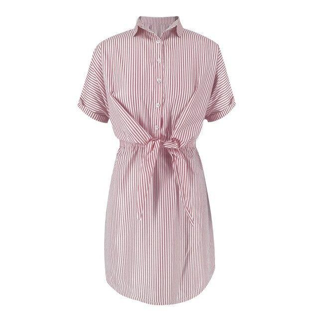 The Best Summer Streetwear Casual Women Blue Pink Striped Turndown Collar Lace Up Women  Dress Summer Shirt Dress Short Sleeve Dress Online - Hplify