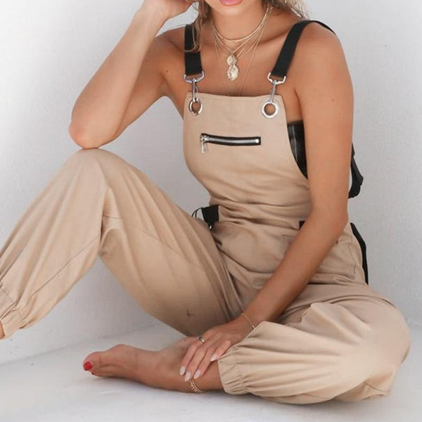 The Best Summer overalls for women Fashion Cargo Pants Casual rompers womens jumpsuit with pocket Khaki bodysuit streetwear Online - Hplify