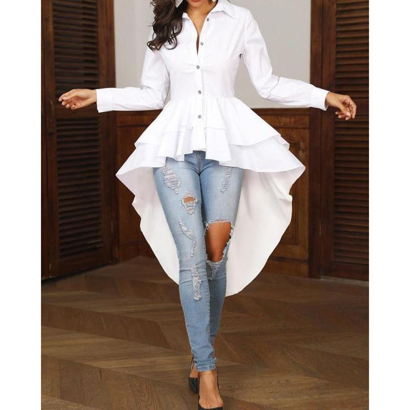 Turn down collar long sleeve blouse shirt women Ruffles layered dip hem white blouse Elegant ladies work wear Summer blusa femme - Hplify