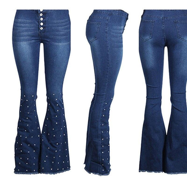 The Best Vintage pearls beading women jeans High wasit denim pants Flare trousers Autumn fashion bell-bottoms chic streetwear Online - Hplify