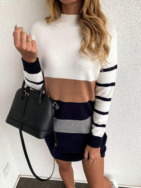 The Best Women Casual Striped Turtleneck Long Sleeve Women Dress Sexy Dress Women Party Night Bodycon Dress Sexy Dress Online - Hplify