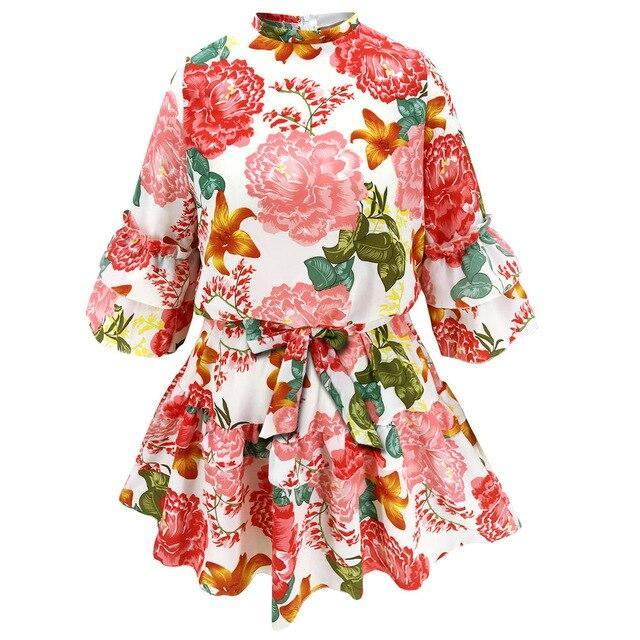 Women Dress Party Night Club Wear Casual Floral Printed Turtleneck Long Sleeve Ruffled Women A Line Dress  Long Sleeve Dress