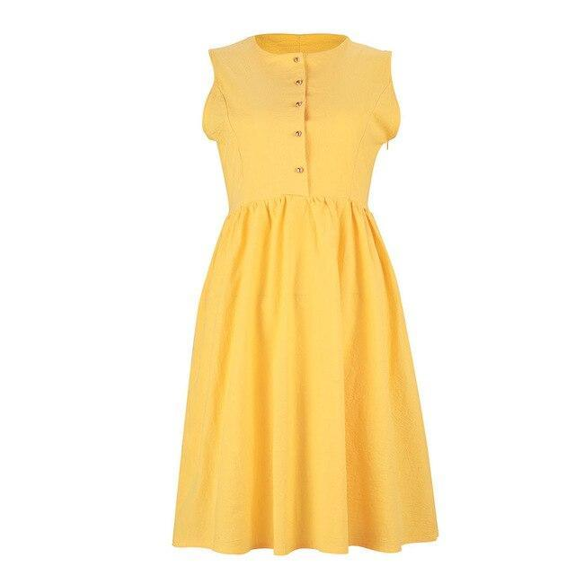 The Best Women Dress Ruffled A Line Dress Sexy Sleeveless Button Yellow Solid Color Round Neck Sexy Dress Summer Online - Hplify