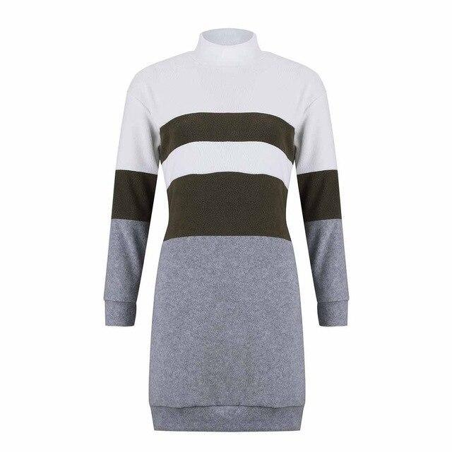 The Best Women Party Night Bodycon Dress Fashion Casual Striped Turtleneck Long Sleeve Women Dress Sexy Dress Online - Hplify