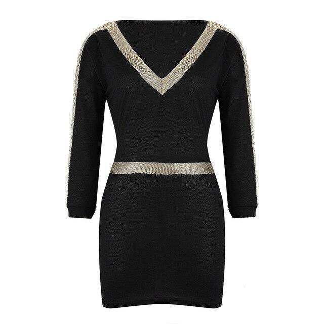 The Best Women Party Night Clbu Wear Sexy Low Cut Patchwork Long Sleeve Elastic Waist Women Mini Dress Sexy Dress Online - Hplify