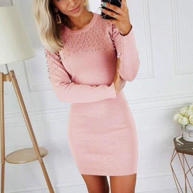 The Best Women Party Night Club Wear Bodycon Dress Sexy Round Neck Beading Long Sleeve Skinny Women Mini Dress Sexy Dress Online - Hplify