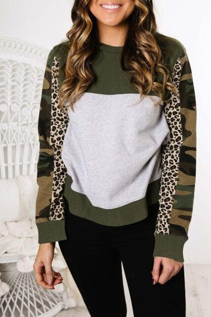 Women Pullovers Casual Leopard Camouflage Printed Patchwork Long Sleeve Women Sweatershirts Fall Tops