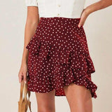 Women Sexy  High Waist Skirt Red Polka Dot Printed Ruffled Women Skirt Warp Skirt Mini Skirt Bodycon Skirt