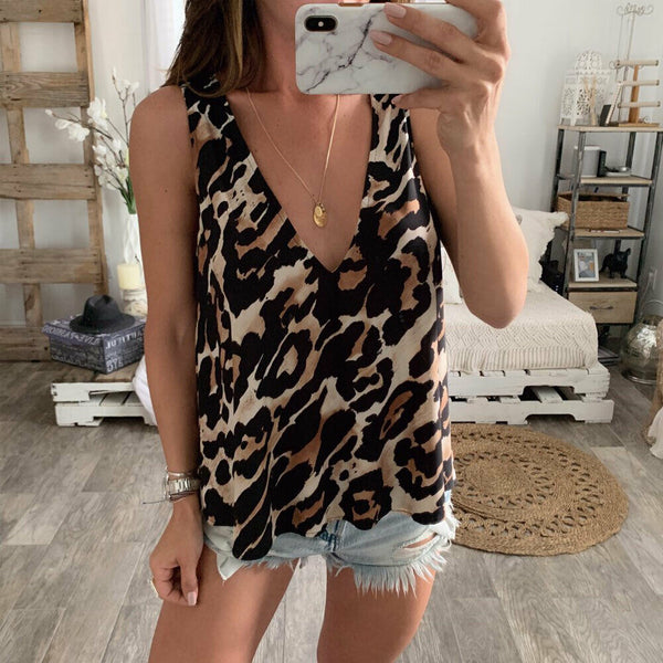 The Best Women Sexy V-Neck Casual Leopard Print Tank Top Vest Fashion Blouse Sleeveless Loose Summer Beach Shirt Cami Tops Online - Hplify