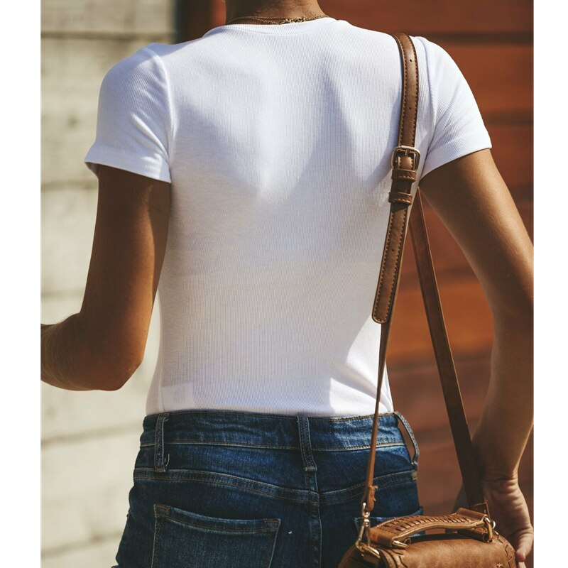 The Best Women Short Sleeve T-Shirts Fashion Ladies Summer Beach Slim V-Neck Casual Tops Shirt Sexy Solid White Cotton Shirts Online - Hplify