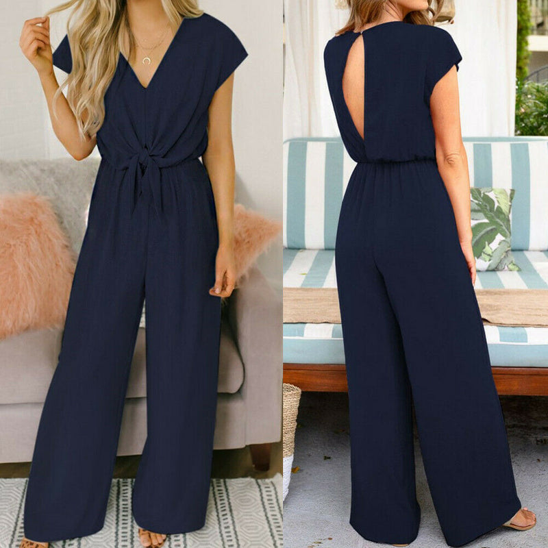 The Best Women Simple Jumpsuit Playsuit Casual Romper Wide Leg OL Ladies Summer Holiday Beach Long Pants Jumpsuit Trousers Online - Hplify