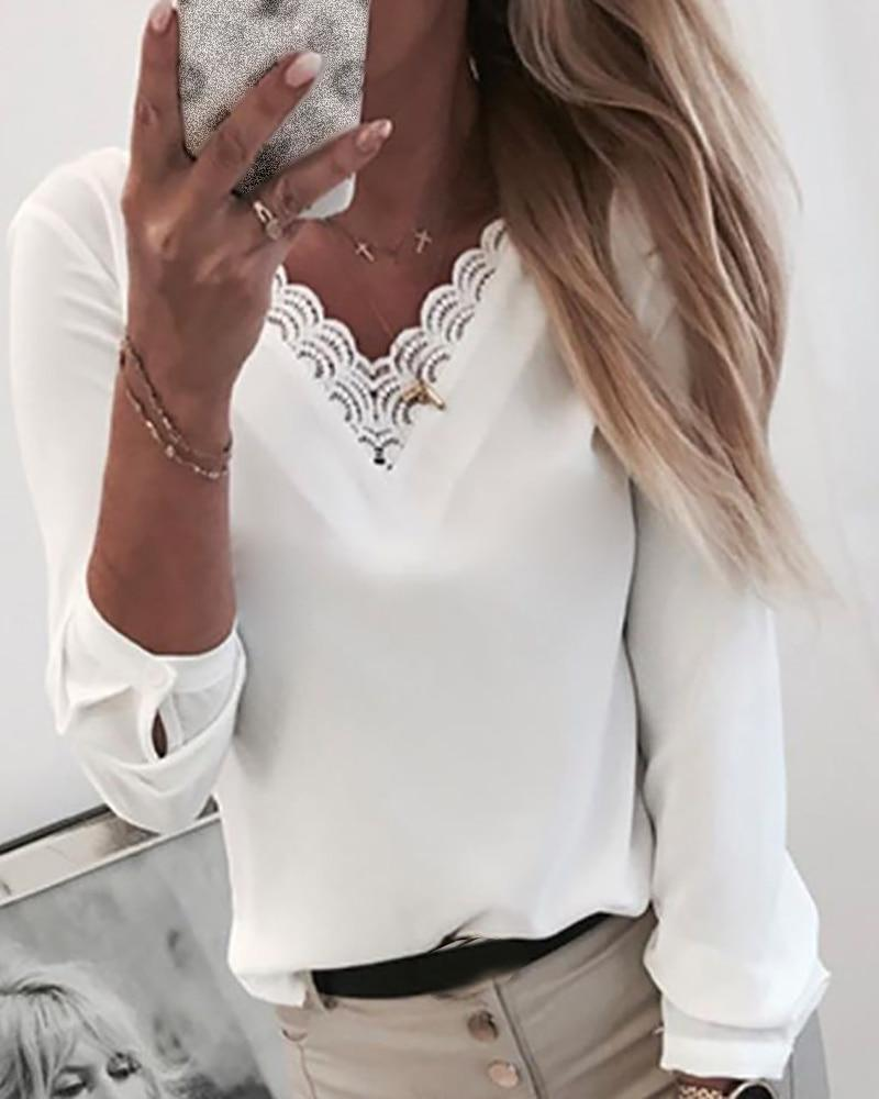 Women Solid V-Neck Lace Insert Shirt Long Sleeve Ruffles Embroidery Tops